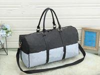55cm mulheres homens sacos nova moda homens mulheres saco de viagem saco de dufle, bolsas de bagagem de couro grande contraste cor de cor esporte saco