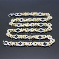 Earrings & Necklace Women 60CM Chains Links Bracelet 22CM Stainless Steel Gold-Steel Charm Men Cross Jewelry Set