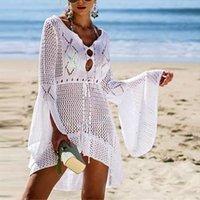 Ganchillo hecho punto cubierta de playa vestidos de mujer túnica largos pareos bikini trajes de baño trajes de playa Roble Robe Plage