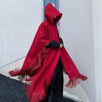 Jesień Unisex Czarny Czerwony Trench Coats Szal Długi Płaszcz Mężczyźni Kobiety Vintage Mid Długość Luźna Kapturzowa Kurtka Kurtki