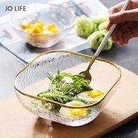 Bowls JO LIFE 1PC Dinnerware Snack Fruit Salad Dish Seasoning Sauce Salt Gold Rim Crystal Transparent Glass Bowl