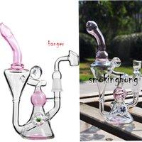 7.8 pulgadas Cachimachas Pink Bong Fumar Vidrio Vidrio Glass Burner Pipes Agua Bongs Chicha Beaker DAB Recycler Tabezales de petróleo con 14mm Banger