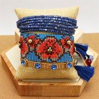 Zhongvi Mode Boho Armband für Frauen Biblik Armband 3D Blumen Handgemachte gewebte Armbänder Set Weibliche Ethnische Schmuck 2021 Geschenk