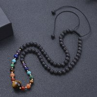 6mm Natural Lava Stone Energy Bead Handmade Rope Braided Beaded Necklaces For Women Girl Party Club Decor Yoga Jewelry