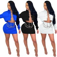 Women Two Piece Dress summer clothing sexy & club elegant solid color sweatshirt skirts sweatsuit outerwear jacket bodycon outfits hoodies bodysuits chain 01277