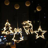 LED Noel Ağacı Işık Dekorasyon Vantuz Asılı Garland Dize Işıkları Noel Oturma Odası Cam Pencere Gece Lambası DHL