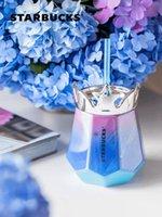 2021 summer Starbucks Starry sky Crown Coffee mug 445ml Blue purple Gradient color Desktop Ceramic straw cup gift
