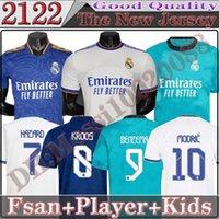 Thailand Real Madrid FSAN-Player-Version Soccer-Trikots-Hemd 21 22 Alaba-Hazard Sergio Ramos Benzema Modric Asensio Camiseta Männer Kids Kit 2122 Uniformen