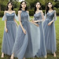 New Dusty Blue Mix and Match Bridesmaid Dresses Appliques Flowers Fall Blush Bride Prom Party Gown Robe De Soriee 2021