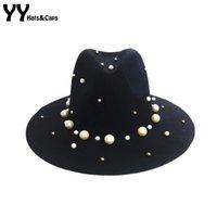 Vintage Fashion Jazz Wool Trilby Ladies Bead Soild Autumn Winter Caps YY0403 Fadora Felt Hats Feutre Chapeau Women Hat Irodo