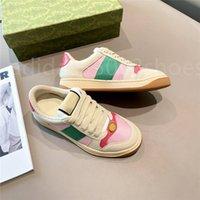 NUEVO caminata de lujo diseñador de pantalla Sneaker Italia Cuero sucio Verde Red Red Stripte ACE Corredor Zapatos Classic Screenery Screener