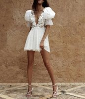 Pearls White Cocktail Dresses Lace Appliques Backless Deep V Neck Evening Dress Custom Made Mini Party Gown
