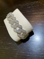 Mens 20mm Gold Silver Cuban Curb Link Bracelet Icey Drip Statement Jewellery Shine Sparkle Hiphop 8INCH Length