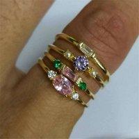 패션 18K 금 도금 반지 4 피스 세트 반지 Fashional Diamonds 쥬얼리 부속품 장식품 3 1JC Y2