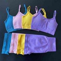 Seamless 2 Piece Yoga Set Women Gym Clothes Sports Bra+Shorts Women's Tracksuit 2 Fitness Clothing Workout 210909