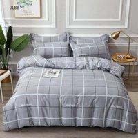 Bedding Sets 100% Cotton Pastoral Flower Printed 4pcs Plaid Stripe King Size Duvet Cover Set Single Double Queen Soft Bed Sheets