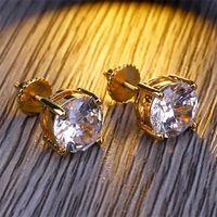 8mm Hip Hop Stud Earrings Silver Gold Plated CZ earring mens womens earing ear ring Women Men designer earings luxury Jewelry Gifts 617 Z2
