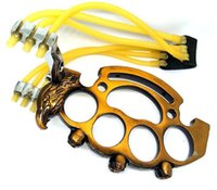 Hot Sell Multi-function Steel Brass Knuckle Duster Outdoor Games Tools Hunting Slingshot Silver Eagle Coppery
