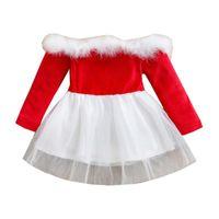 Clothing Sets Toddler Girl Christmas Dress, Off Shoulder Long Sleeve Faux Fur Trim Color Block Tutu Dress Spring Autumn