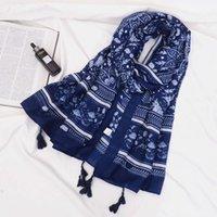 Porcelaine bleue et blanche National Style Travel Protection solaire Châle Polyatile Coton Coton Tassel Soie Soie Echarpe Femme Speetel