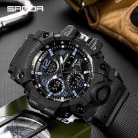 Sanda Nouveau G STOCK SOCK HOMMES SPORTS Montres de sport Big Sport pour hommes Luxury LED Digital Military-Bracelet imperméable Montres 210303