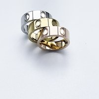 fashion ring Love series With Side Stones mens rings classic luxury designer jewelry women Titanium steel Alloy Gold-Plated