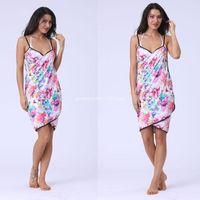 Toalla 155x80cm Mujeres Womenable Baño Boho Rainbow Coloreado Floral Raya Profundo Cuello en V Playa Manta Spaghetti Sling Delantal Dropship