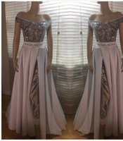 Sparkly Sequins Jumpsuit Evening Dresses With Overskirt Off Shoulder Short Sleeve Floor Length Long Prom Party Gowns Reception Dress