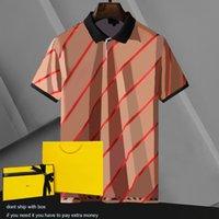 Polos de hombre Carta clásica y patrón de rayas para hombre Tops de moda Polo Camisa Contraste Color Casual Manga corta Hombres camisetas