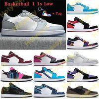2021 1 1S Bas Basketball Chaussures Unc Paris Hommes Femmes Sneakers Gris Noix Noir Noir Toile GS Tri-Couleur Denim Entraîneurs Keychain