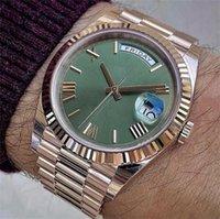 Розовое золото двойной день день мужские часы римская цифра циферблат сапфировый стекло из нержавеющей стали сплошной зажим браслет автоматический спортивный президентский мужской наручные часы