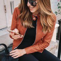 Women's Suits & Blazers Kywommnz 2021 Spring Autumn Short Coat Women Fashion Splicing PU Long Sleeve Zipper Slim E3611