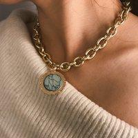 2021 Vintage grüne Stein Anhänger Halskette Aussage Gold Farbe Metall Lange Kette Halskette Für Frauen Schmuck