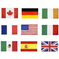국립 국기 모든 국가 90x150cm 미국 미국 영국 United Jack Germany 프랑스 이탈리아 아일랜드 멕시코 캐나다 스페인 플래그 HWD8433