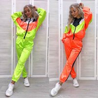 Womens Panelled Hooded Tracksuits Spring Autumn Casual Female Letter Printed Fashion 2Pcs Sports Set