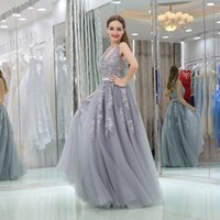 Gorgeous A Line Formal Evening Dresses Sleeveless Silver Tulle Bride Long Reception Gowns Special Occasion Pageant Prom Party Dress Appliques Lace