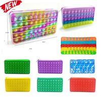 U Stock Silicone Rainbow Push It Bubble Sac crayon Case Fidget Party Simple Douce Doigt Toys Decompression Soulagement Interactive 2021 Retour à l'école CT03