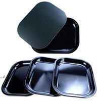 Metal Black Smoking Portable Preroll Scroll Roll Rolling Cigarette Cigar Tray Tips Holder Dry Herb Tobacco Magnetic Storage Cover LLE10508