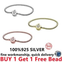 100% 925 sterling silver rose gold Suitable Classic lovely Snake Bracelet Pandor DIY charm Bead Women jewelry