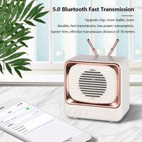 Mini Bluetooth Portable TV Speakers Retro Desktop FM Radio Speaker Voz Amplificador 5.0 Transmissão rápida 4D efeito de som Home DW02