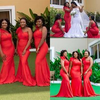 2021 Sexy African Red One Shoulder Mermaid Bridesmaid Dresses Elastic Satin Sweep Train Garden Country Wedding Guest Gowns Maid of Honor Dress Plus Size Floor Length