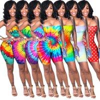 مثير المرأة مصمم حللا السروال القصير الملابس الصيفية التعادل صبغ rainbow البولكا نقطة الأشرطة مع عارية الذراعين وزرة السراويل مطوي بذلة 801