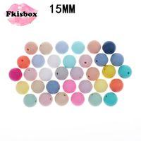 FKISBOX 100 PC Silicone Teether Beads15mm Bolas de Silicone Beething Beads DIY Beething Colar Silicone Bead BPA Free Baby Enfermagem 210311