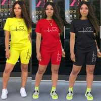 Casual Tracksuit Women Two Piece Set Summer T-shirts and Shorts Sets Solid Color Print Short Sleeve Top Tees Female Suits S-4xl
