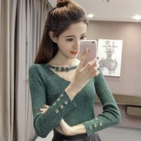 Women's Sweaters Rivet Hole Pullover Women Sweater V-Neck Fall Woman Clothes Long Sleeve Sueters De Mujer Moda 2021 Fashion Korean Pull Femm