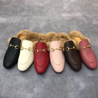 Classic Maschio Mezza Pantofole con Pantofole per capelli in metallo con fibbia in metallo in metallo in pelle di vacchetta morbida 100% ricamata Scarpe da donna calda Pantofole di lana calda 35-42-45