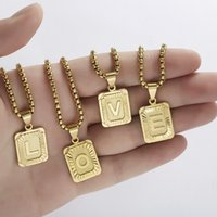 Initials 26 Letter Pendant Necklace for Women Gold Color Chain Geometric Nameplate Collar Fashion Men Girls Jewelry