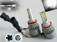 10pcs 무료 배송 24V H8 / H9 / H11 LED 6000K 화이트 COB LED 자동차 헤드 라이트 램프 전구 18W 3800LM