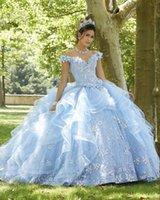 Light Sky Blue Princess Quinceanera Dress 2021 Off Shoulder Appliques Sequins Flowers Party Sweet 16 Gown Vestidos De 15 Años