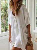 Women's Swimwear Miguofan Solid Summer 2021 White Sundress Covers Women Cotton Casual Beach Button Pocket Loose Vestidos